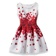 2018 Girls Dress Summer Butterfly Floral Print Teenagers Dresses for Girls Designer Formal Party Dress Kids Vestido 6-12Y(China)