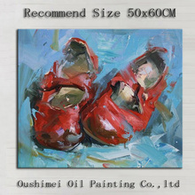 China Top Painter Hand-painted Good Quality Modern Abstract Red Shoes Oil Painting On Canvas For Wall Decorative(China)