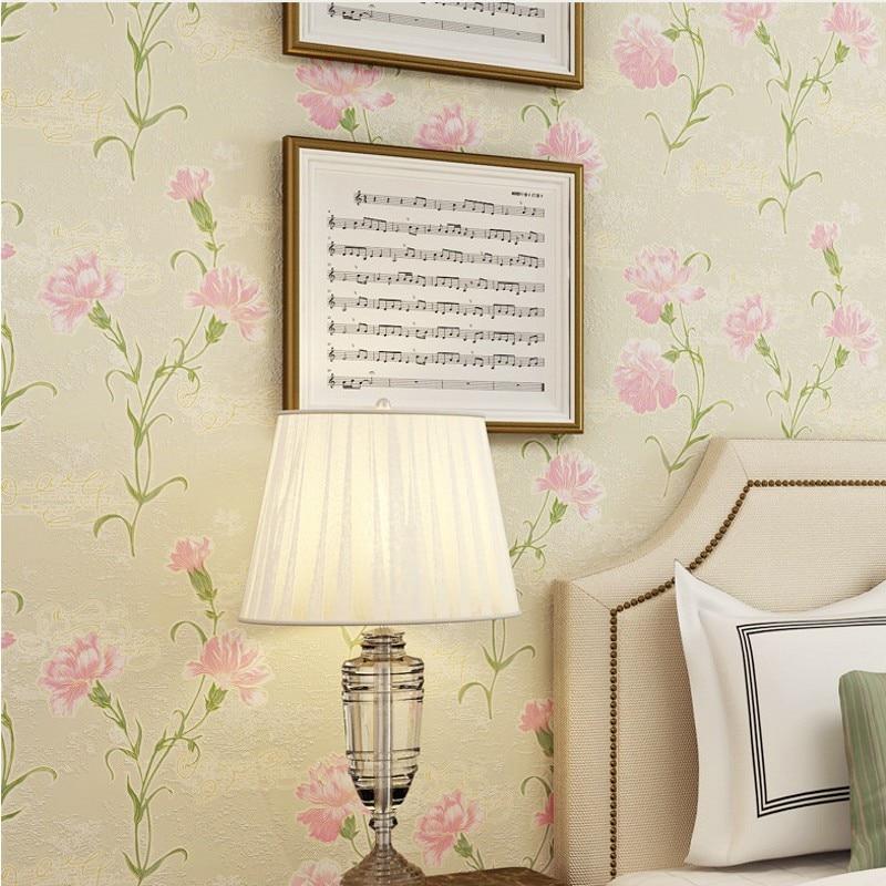 Free Shipping Warm elegant pasta large flower non woven bronzing wallpaper fresh flowers bedroom living room wallpaper<br>