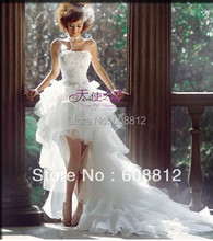 Free Shipping Custom-made FW5189 New Fashion Style Organza Short Front Long Back Wedding Dress
