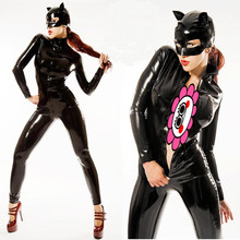 Buy Abbille New Arrival Womens Black Latex Catsuit Sexy PU Leather Jumpsuit PVC Crotch Zipper Clothes Black Catwoman Bodysuit 2017