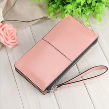 Women Famous Brand Oil Wax Leather Zipper Clutch Wallet,Female Candy Color Burglar Robbed Purse,Lady Multi-function Phone Wallet(China)