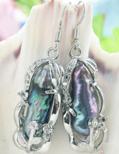 Hot sale new Style >>>>Huge AAA South Sea black Baroque Pearl Earrings 925 Sterling Silver