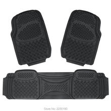 Rubber Floor Mats Semi Custom Fit Driver & Passenger Seat 3pc Heavy Duty Nibbed Backing Black Mat in Black / Gray IAFM006(China)