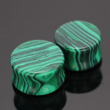 green Malachite stone Plug and tunnel 6-16mm body jewelry earring nature stone kits stretcher expander flesh tunnel