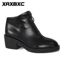 XAXBXC 2017 Retro British Winter Short Plush PU Leather Thick Heel Short Ankle Boots Warm Women Boots Handmade Casual Lady Shoes