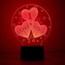 Acrylic 7 Color USB Charge 3D HEART I LOVE YOU LED Night Light With 3D Luminous Decor Table Lamp Nightlight For Vanlentine Day