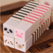 Cute Kawaii Stripe Rubber Eraser Lovely Cartoon Cat Bear Erasers For Kids Gift Korean Stationery Free Shipping 2708