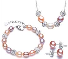 Classic Exquisite S ilver Jewelry Set Fresh Water Real Pearl Earrings Stu Bracelet Necklace 7.5-8.5mm Lady Party Birthday Gift