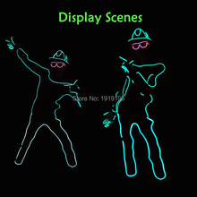 10 Color Select New Fashion DIY LED suits EL wire light up Clothes luminous Costume parts as Party holiday lighting decoration