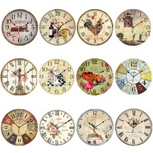 Vintage Wooden Wall Clock Large Shabby Chic Rustic Kitchen Home Antique Style-F1FB