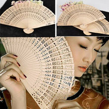 Fashion Folding Fan Wooden Carved Sunflower Print Hand Fragrant Bamboo Wedding Wood  Wholesale