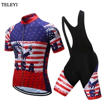 2017 USA Summer Mens MTB Sport bike Jersey Black Bib Shorts Set Ropa Ciclismo Cycling Clothing Male Outdoor team Bicycle clothes