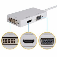 3 in1 Mini Display Port DP To HDMI VGA DVI Display Port Cable Adapter Converter for Apple Macbook Pro Microsoft Surface Pro 2/3
