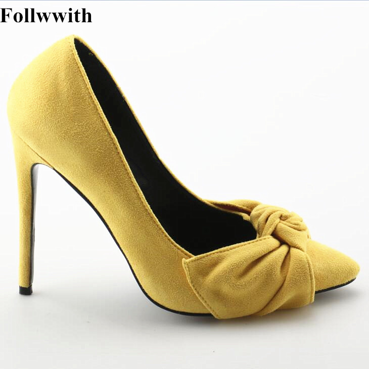 Butterfly-knot Style Pointed Toe Basic Women Pumps Suede Leather Slip On High Heel Wedding Party Lady Shoes