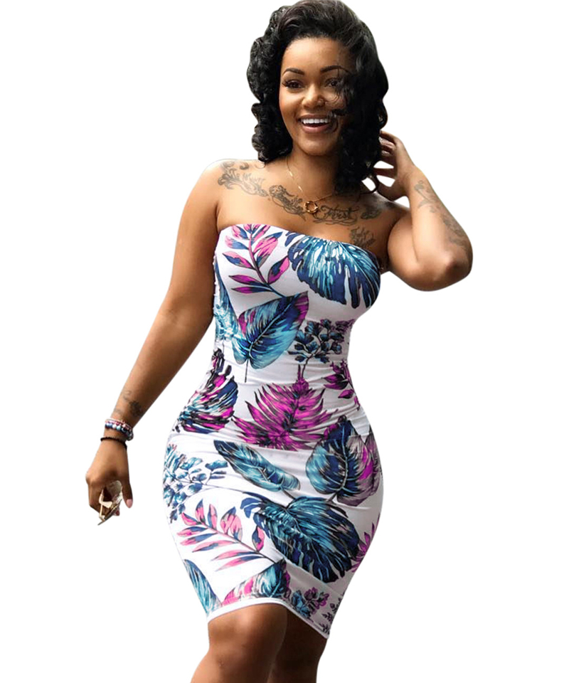 Adogirl Leaves Print Strapless Plus Size Summer Dresses Women Sexy Bodycon Mini Night Club Dress High Quality Cheap Vestidos 7