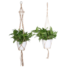 2 Style Plant Hanger Pot Holder 4 Leg Jute Rope Brown Handmade Macrame 40 Inch Home Garden Decoration Hanging Flower Display