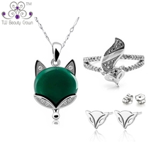 2017 New 925 Sterling Silver Natural Stone Green Onyx Fox Animal Pendant Necklaces Earrings Ring Woman Fashion Party Jewelry Set