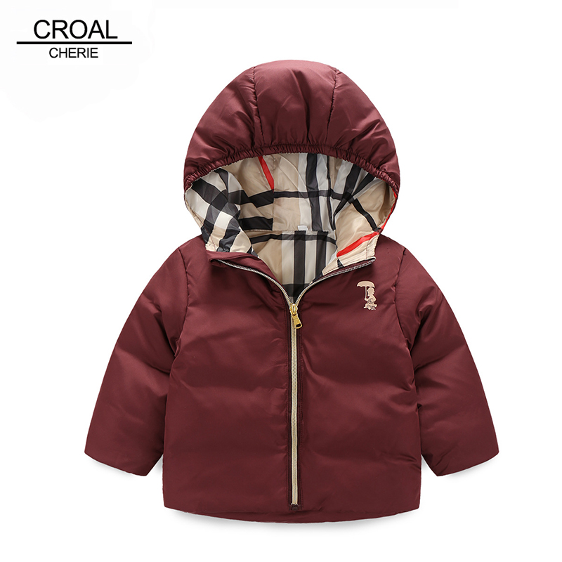 90-120cm Fashion Plaid Winter Boys Padded Duck Down Jacket Child Infant Overcoat Solid Girl Winter Coat Thickening OuterwearОдежда и ак�е��уары<br><br><br>Aliexpress