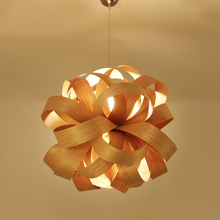 Japanese Wooden Flower pendant lights Retro Living Room Restaurant Lighting Personalized Cafe Decoration Home Lightin lamps ZA