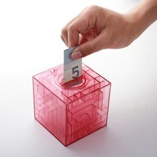 Hot Maze money Bank 3D Puzzle Box Piggy bank currency lear blue or pink STORAGE TANK(China)