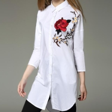 2017 Spring Fashion Women Red Rose Embroidery Feminina Long Blusas Appliques Blouse Cotton White Loose Shirts Tops LS1049