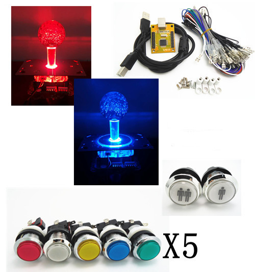 5V high brightness type for 5V LIGHTING silver lighted button 2 players PC PS 3 Arcade to USB controller 2 player MAME Multicade<br>