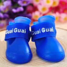 Pet Puppy Fashion Candy Colors Waterproof Boots Protective Rubber Rain Shoes Booties
