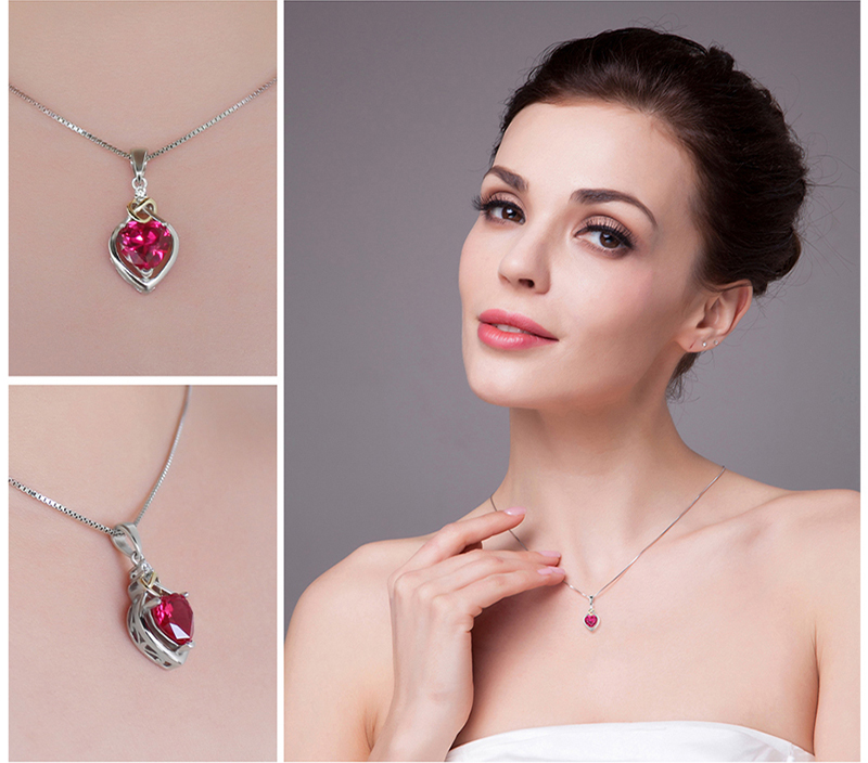 JewelryPalace Love Knot Heart 2.5ct Created Red Ruby Anniversary Pendant 925 Sterling Silver 18K Yellow Gold Without a Chain 28