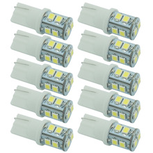 CQD-Light 10pcs 12V 3528 10 SMD T10 W5W 501 LED Car Auto Sidelight Bulb White Parking License Plate Light(China)