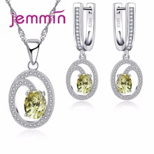 Jemmin Trendy Bridal Wedding Crystal Jewellery Sets For Women Party Fine 925 Silver Rhinestone Statement Necklace Earrings Set
