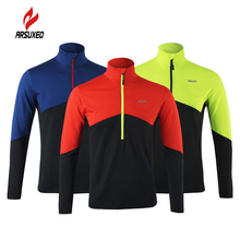 Arsuxeo Jackets Men Cycling Jacket Long Sleeve Cycling Coat ciclismo Bicycle Bike Winter Warm Thermal Zippered Breathable Jacket(China)