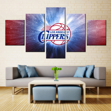 FORBEAUTY 5 Panel Art Canvas Painting Spray Printings USA Basketball  L.A.Clippers team logo NBA
