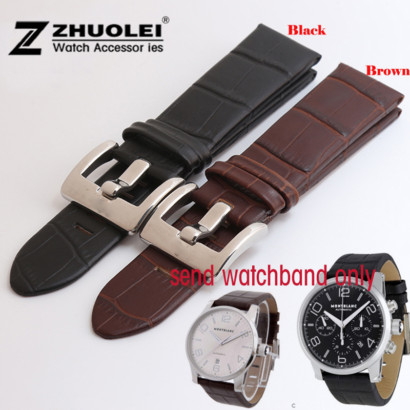 Watch strap 22mm Black |brown Genuine Leather Strap watchband Polished Deployment stainless steel Buckle<br><br>Aliexpress