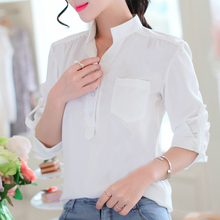 B1177 cheap wholesale Spring 2017 new joker han edition long-sleeved cardigan big size leisure female white collar shirt