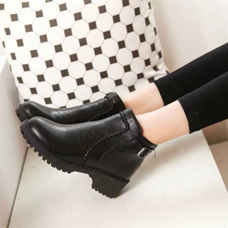 Winter Pointed Toe Women Ankle Boots Solid For Women Zipper Shoes Pu Leather Black Shoes Woman Fashion Boots Size US 8<br><br>Aliexpress