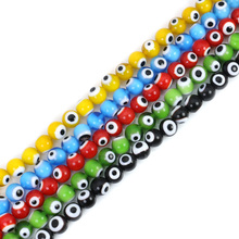 8mm Mixed Colors Round Shape Glass Evil Blue Eye Colorful Loose Beads For Jewelry Making Accessories 40pcs/lot