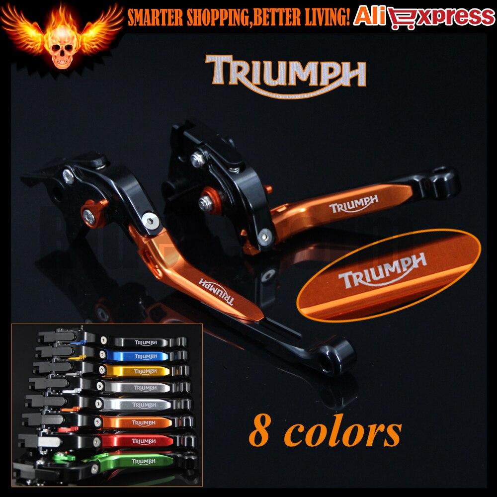 Orange+ Black CNC Adjustable Folding Extendable Motorcycle Brake Clutch Levers For Triumph SPRINT GT 2011 2012 2013 2014 2015<br>