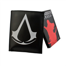 Value recommended new listing game  Assassin's Creed logo peripherals men's figure Leather Two Fold Wallet