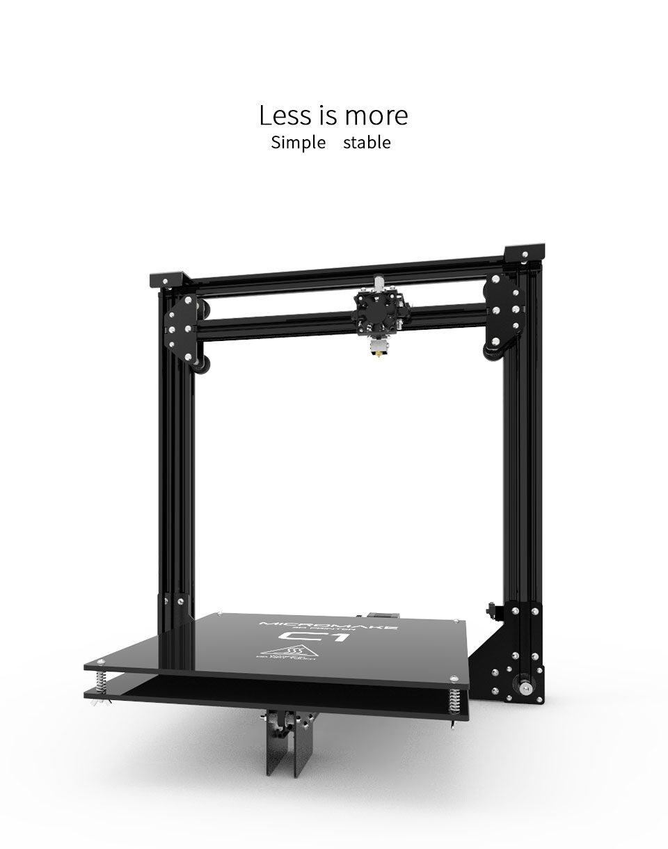 2017 Micromake 3D Printer Micromake C1 Metal Sheet with heatbed H-botXZ Structure Large Printing Size 245*245*260mm DIY Kit