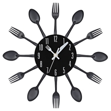 2017 3D Wall Clock Stainless Steel Knife Fork Modern Design Large Kitchen Wall Watch Clocks Quartz For Home Office Decor 4 Color