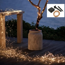 Solar Power String Light Waterproof 20m 200 LED Copper Wire lamp Warm White For Outdoor Christmas wedding decoration lights