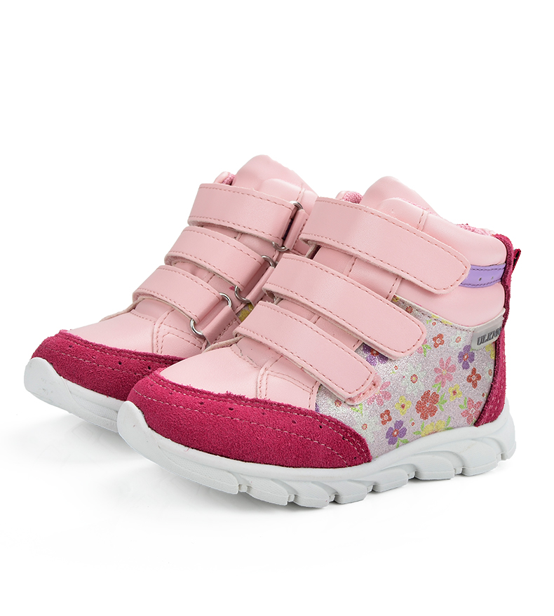 ULKNN Girls Sneakers Kids Shoes Girls Running Shoes Floral Print Breathable Genuine Leather Soft sapatos infantil Pink Size 20-25 (3)