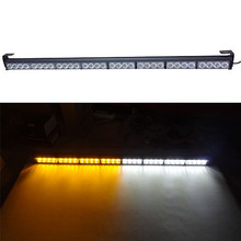 "Yellow Amber White 35.5"" 32 LED Emergency Warning Light Bar Traffic Flashing Strobe Lamp"
