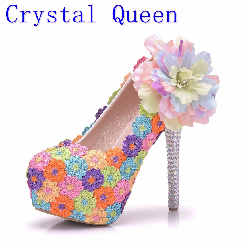 Crystal Queen Handmade Women Wedding Shoes Round Colorful Lace Flowers High Heel Elegant Bridal Dress Shoes Prom Pumps