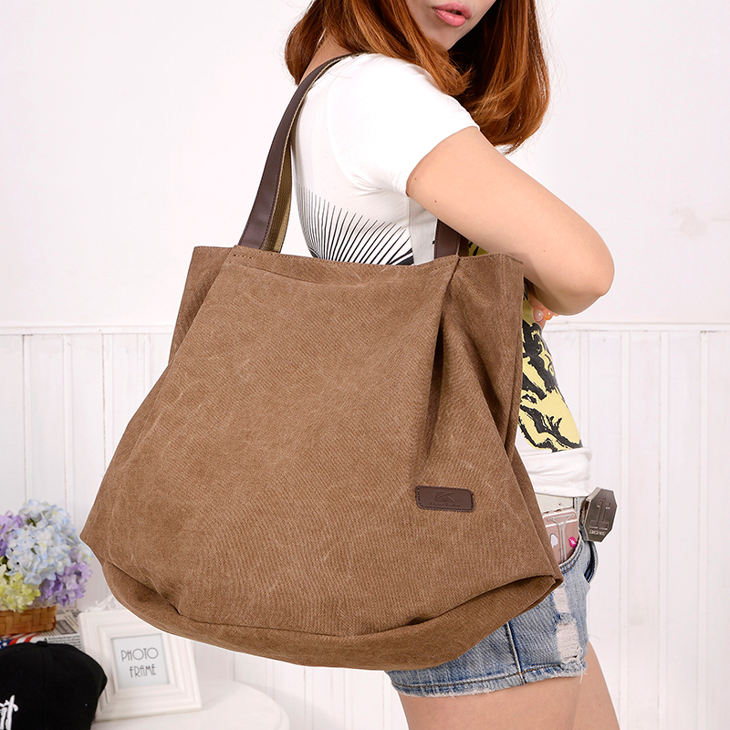 Squirrel fashion canvas solid ruched women casual tote vogue classic large capacity youth girls shoulder bag female handbag<br><br>Aliexpress