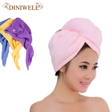 New Quick-Drying Soft Microfiber Towel Wrapped Turban Hair Drying Hat Cap Cloth Color Random