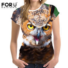 FORUDESIGNS Harajuku 3D Owl Printed T Shirt Women Short Sleeve Tops Dropshipping High Quality T-shirts Women Elastic Clothing(China)