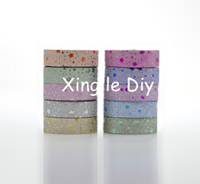 10PCS 15mm4m Mix colors Star Origami Handmade paper DIY For school Washi Tape Book Decoration DIY Adhesive Paper Scrapbook(China)