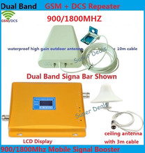 Dualband GSM DCS Repeater Set with Antenna and Coaxial Cable, Cell Phone GSM Booster 900 1800MHz with LCD Signal Display Screen
